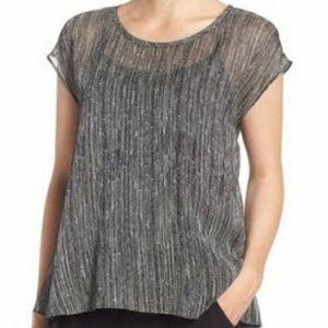 NWT Eileen Fisher Firefly Printed Crinkle Silk Top